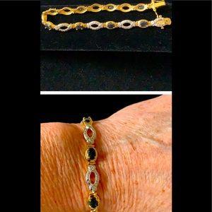 Tennis Bracelet illusion diamond & deep Sapphire 8